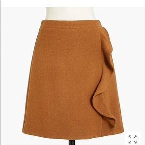 JCrew Ruffle Skirt Double Serge Wool, Size 2
